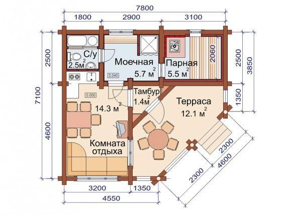 Проект бани-дома (рис. 65)