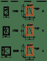 Таблица армирования U-образных блоков и подбор их количества