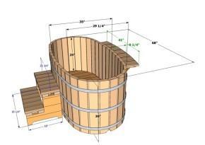 Чертеж деревянной овальной купели (в данном случае размеры проставлены в дюймах)