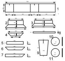 2,3,4 - заготовки поддона. 5,6,7 - обрамление матрицы снизу (уголок 25х25). 8 - планка крепления пустотников. 9 - пустотник. 10 - верхняя заглушка пустотника. 11 - нижняя заглушка пустотника