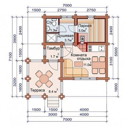 Проект бани-дома (рис. 16)