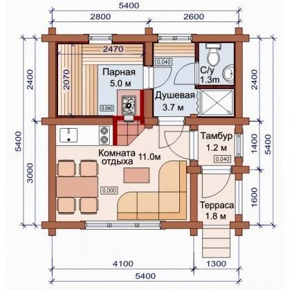 Проект бани-дома (рис. 10)