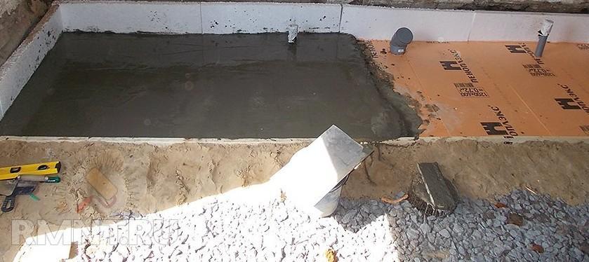 Заливка подполья под парной