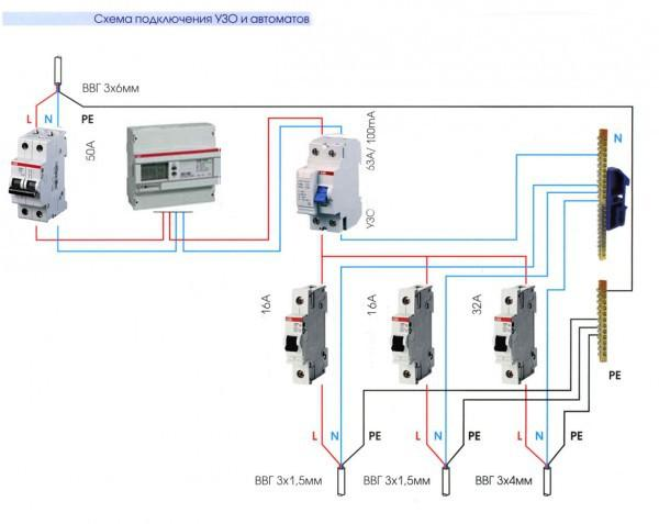 Схема подключения УЗО и автоматов