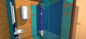 Зонирование моечной комнаты