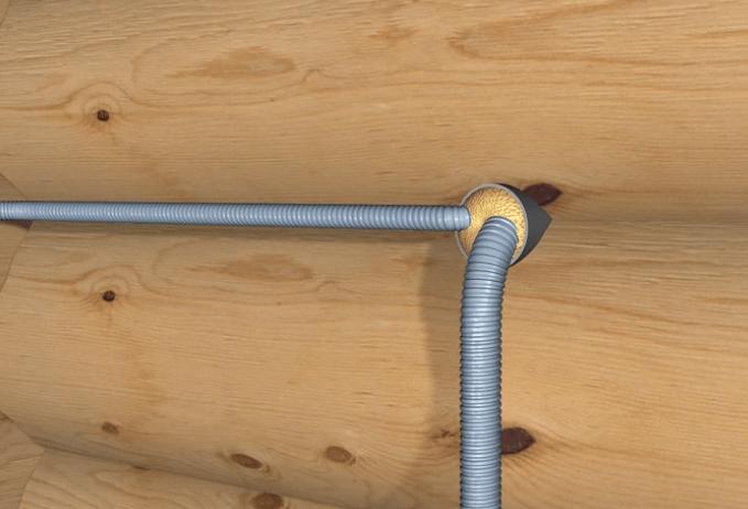 Проход проводов через деревянную стену возможен только с использованием гильзы и несгораемого наполнителя