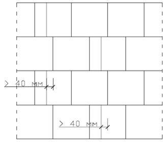Схема перевязки, когда стена выкладывается с задействованием прирезанных элементов