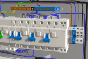 Жилы кабеля ВВГнг 4х1,5 заводят на соответствующие винтовые клеммы