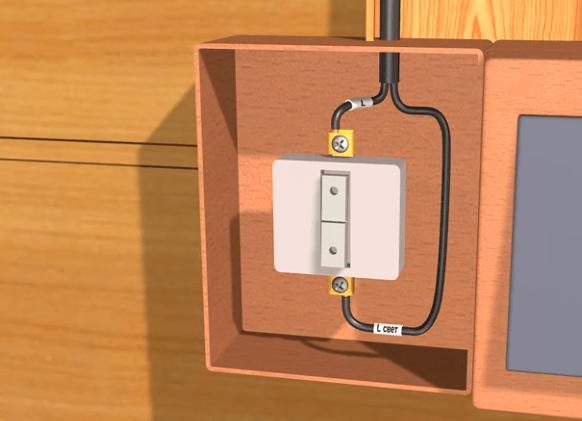 Кабель ВВГнг 2×1,5 опущен к одноклавшному выключателю