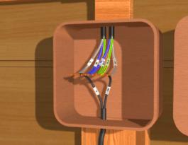 Выполняется прокладка кабеля ВВГнг 3х1,5 к месту установки предполагаемого светильника