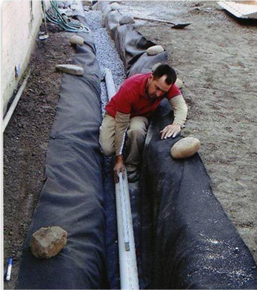 Укладка трубы на геотекстиль