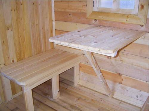 Пристенный столик в бане