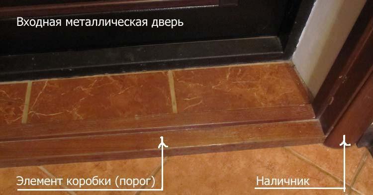 Деревянный порог в конструкции коробки
