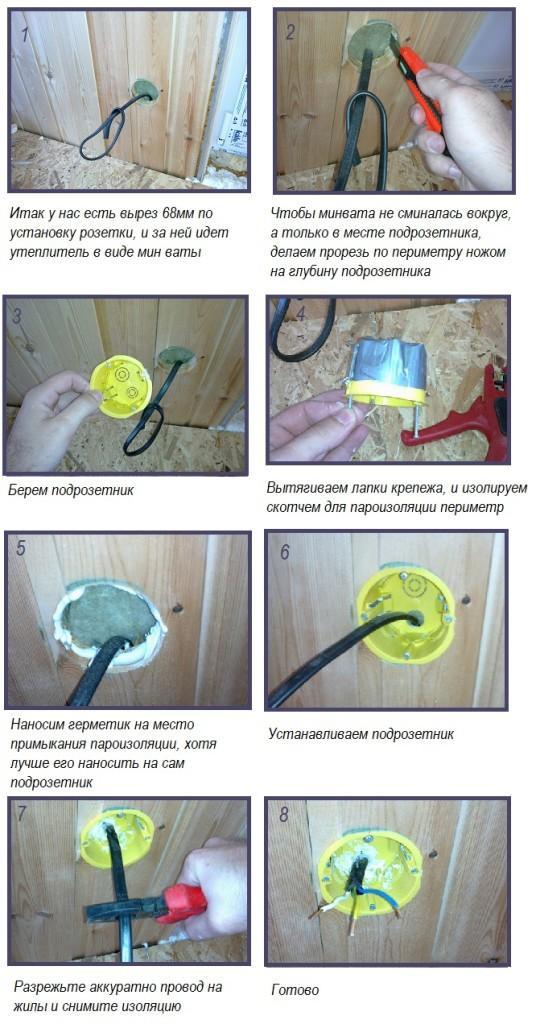 Инструкция по монтажу подрозетника в бане
