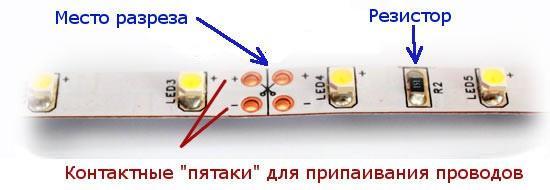 Метки для разрезания светодиодной ленты