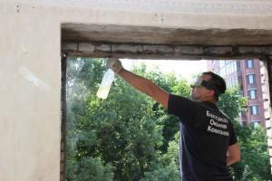Пример проема для установки деревянного окна