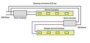 Схема подключения двух светодиодных лент