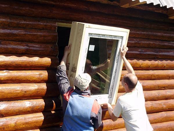 Установка банного окна