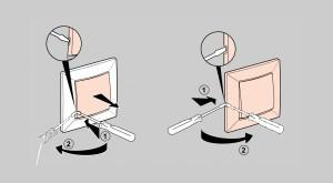 Ножом или отверткой поддеть клавишу и отделить от выключателя. Зачастую клавиша крепится к корпусу особой прижимной пластинкой, которую также необходимо извлечь