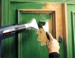Снятие краски шпателем и строительным феном