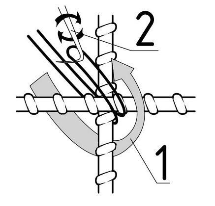 Схема вязки арматуры крючком