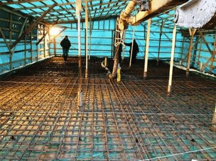 Сооружение навеса над фундаментом