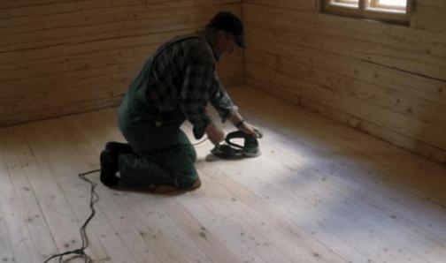 Пример шлифовки деревянного пола