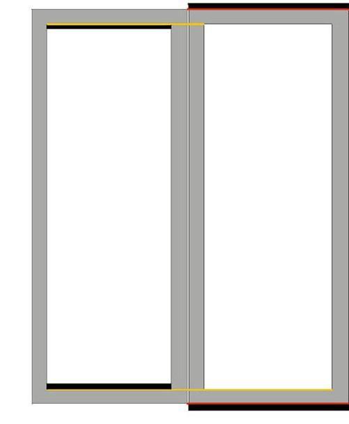 Схема выравнивания створок