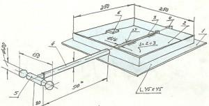 Поворотный шибер: 1 — рамка; 2 — заслонка; 3 — ось; 4 — втулка; 5 — ручка поворота заслонки; 6 — ограничитель поворота заслонки.