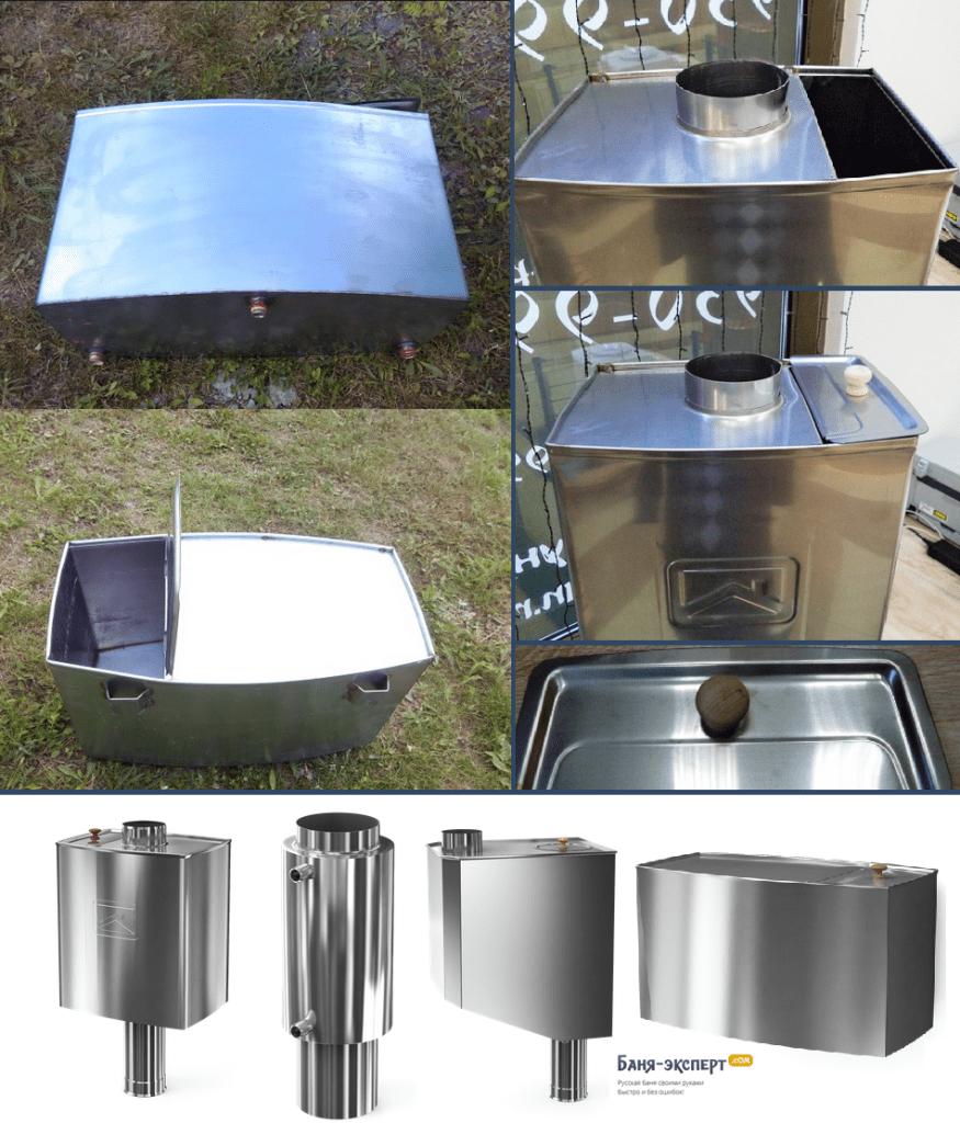 Баки и регистры  для установки на банные печи и для дистанционного нагрева воды