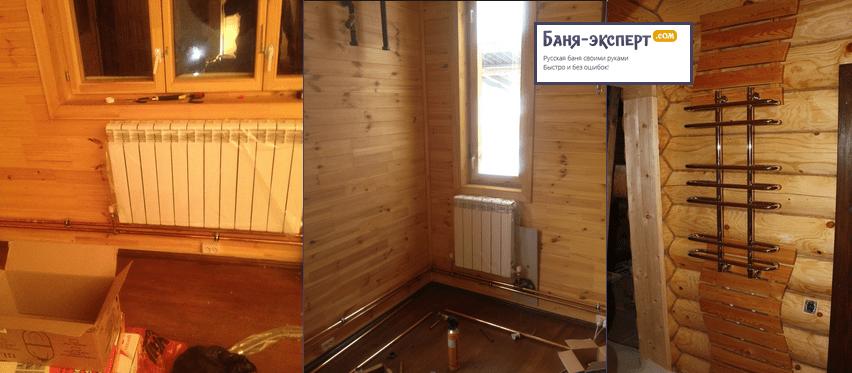 В габаритной бане стоит установить котел и подключить радиаторы, а также полотенцесушитель
