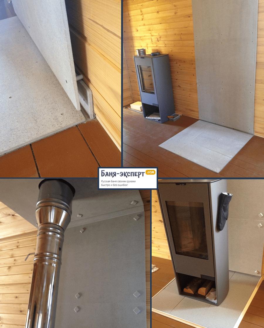 Защитный экран из минерита крепится на стену через втулки