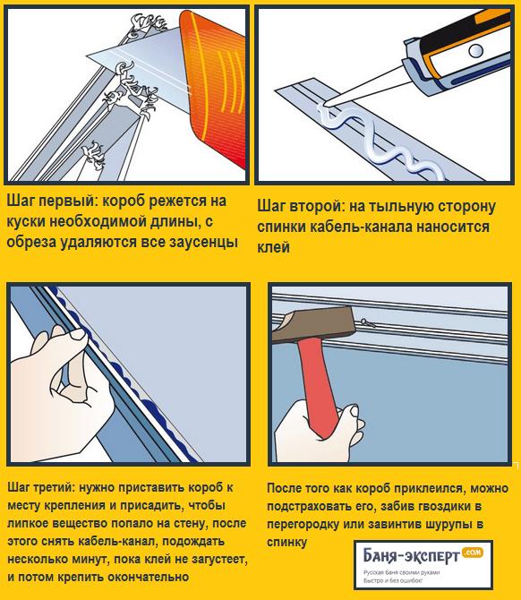 Крепление кабель-канала на клей