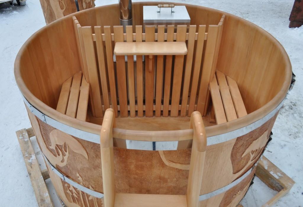 Купель японская с подогревом с внутренней печью