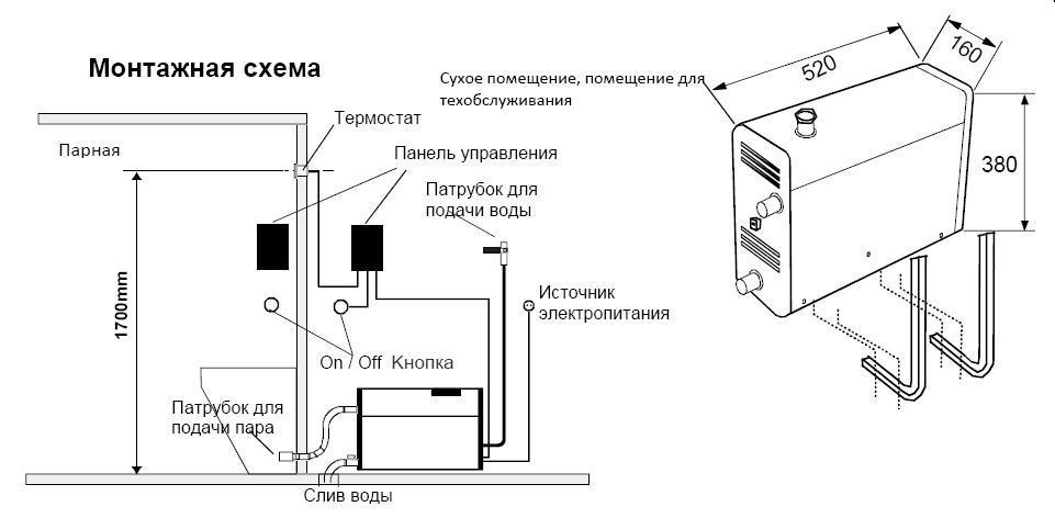Парообразователь для бани - схема монтажная