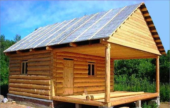 Пример аналогичной конструкции бани с беседой под одной крышей