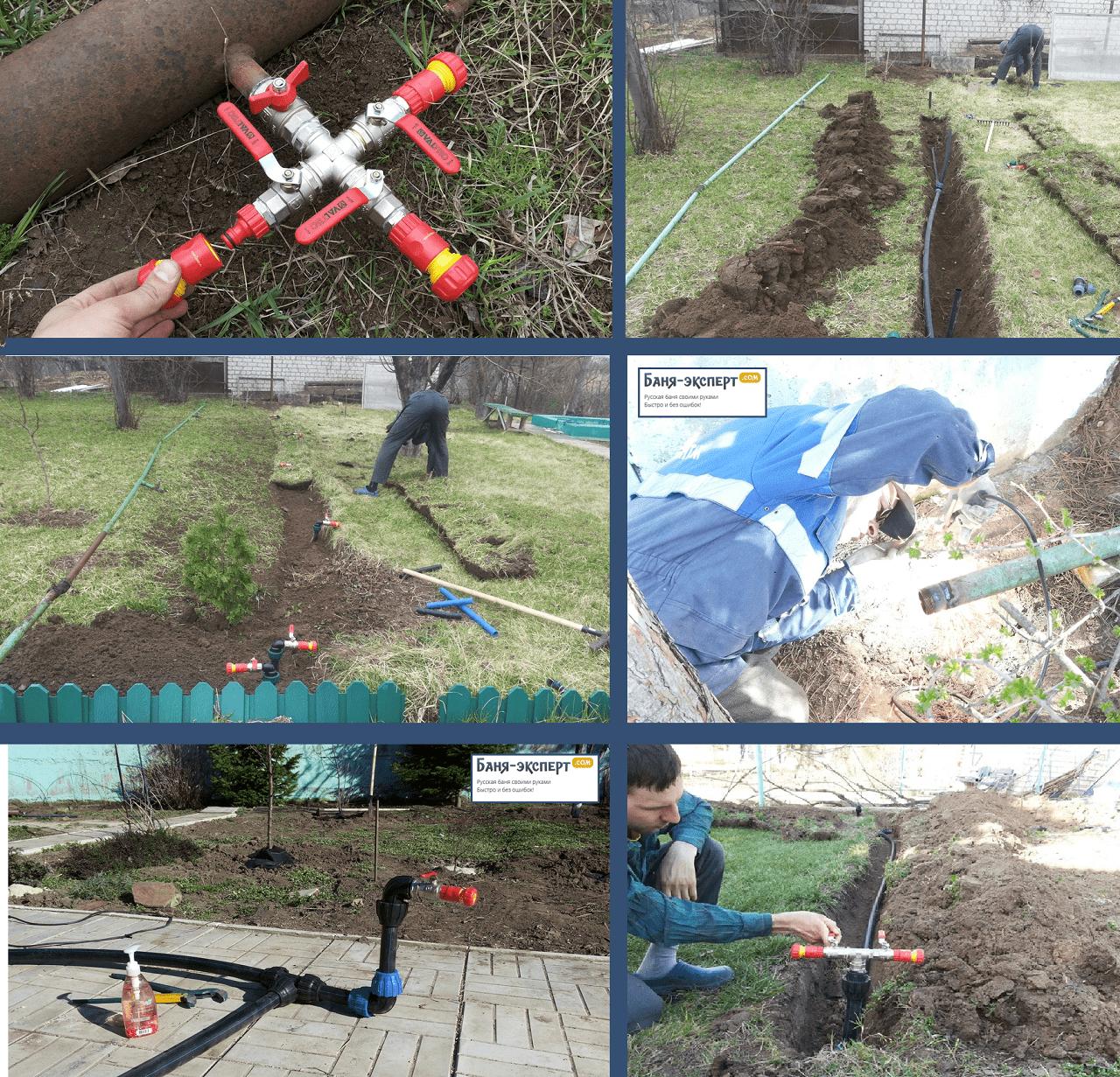 Пример монтажа водопроводных труб