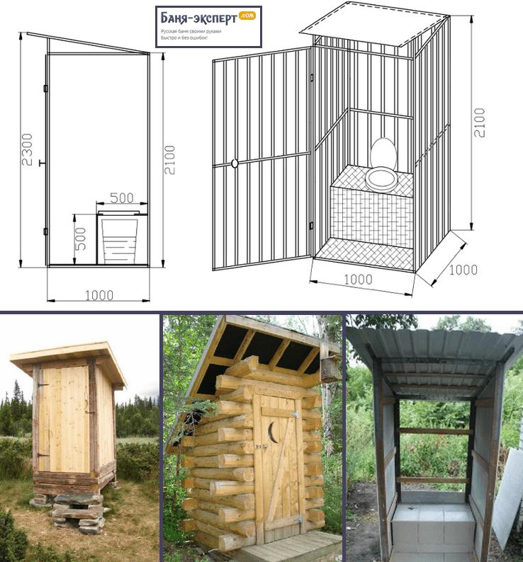 Пример строительства туалета с плоской крышей