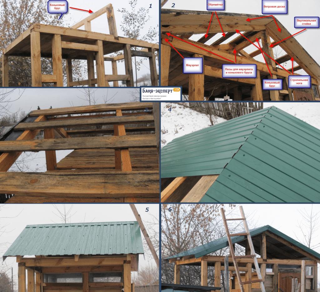 Пример этапо строительства двускатной крыши уборной