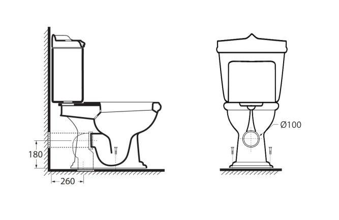 Схематическое изображение конструкции унитаза с двумя вариантами расположения канализационного отвода