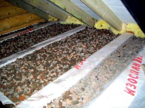 Утепление потолка бани при помощи керамзита