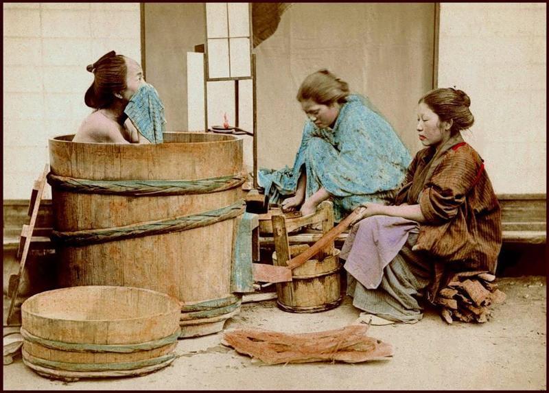 Японская баня - иллюстрация традиций