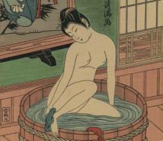 Японская картина - девушка в офуро