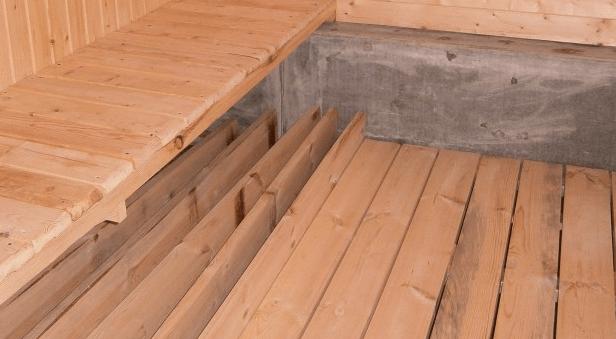 Настилка проливных полов в банях с ленточным фундаментом