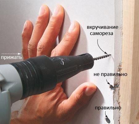 Вкручивать саморезы нужно правильно, чтобы не повредить хрупкий гипсокартон