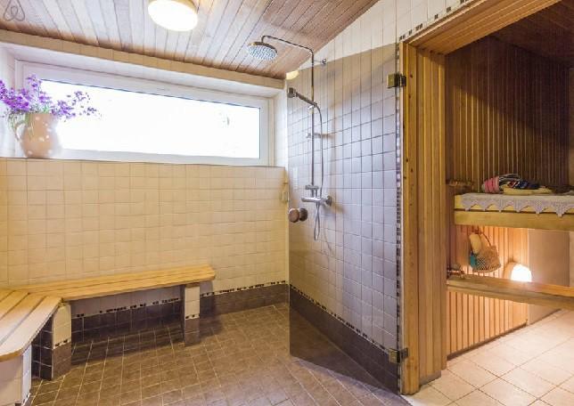 Моечная в бане, отделка керамической плиткой