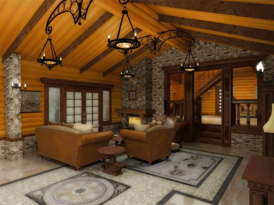 Сочетание дерева и природного камня в интерьере комнаты отдыха