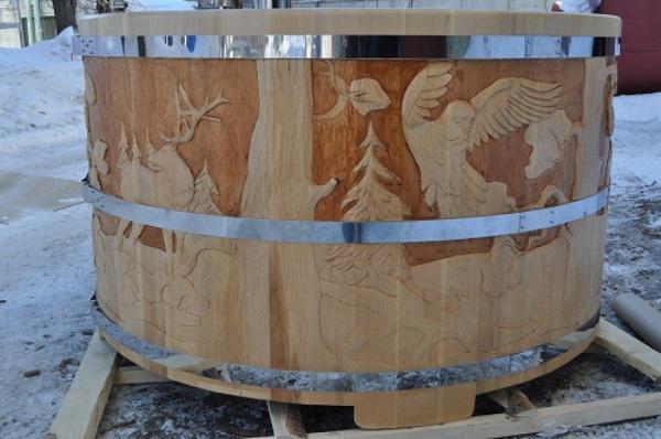Деревянная купель, собранная без клея