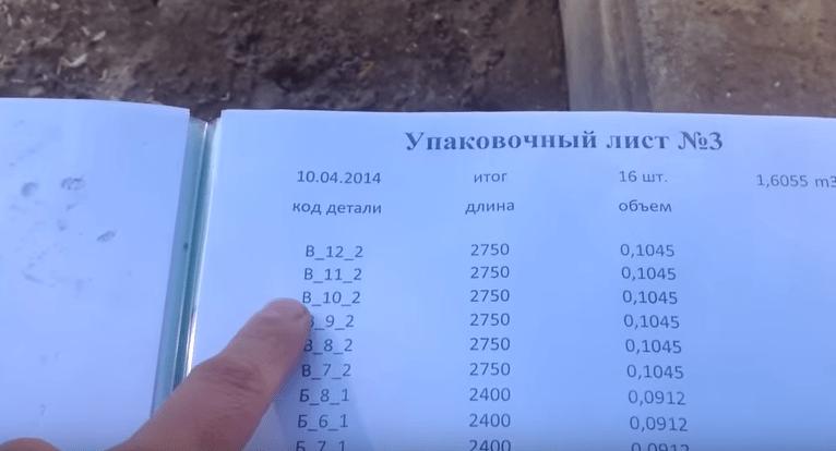 Комплект поставки бруса сопровождается документацией