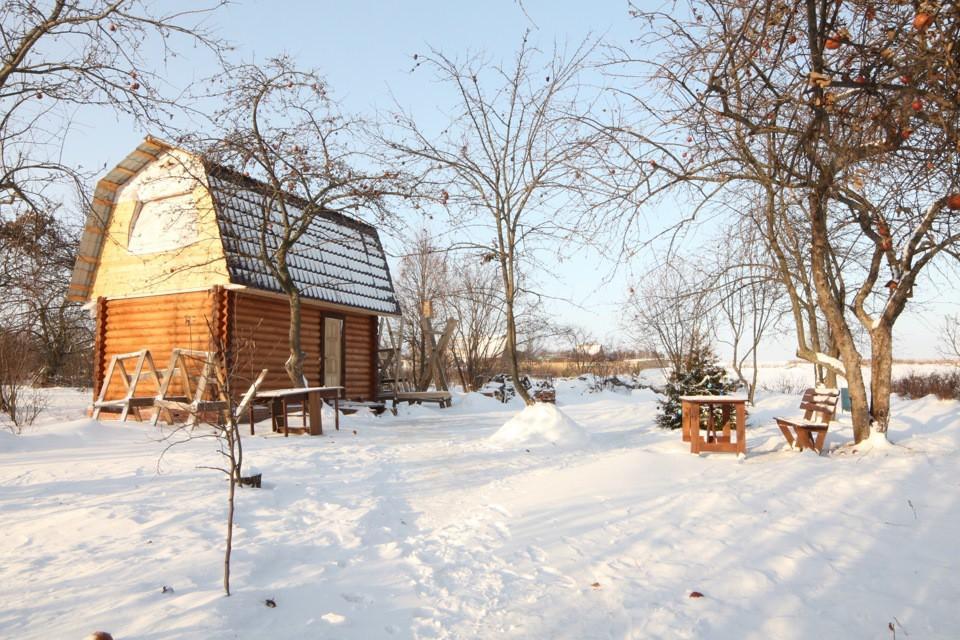 Наша баня зимой, еще без террасы и балкона